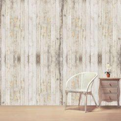 Papel de parede ripas de madeira tons creme em vinil autocolante decorativo. Aplique esta imagem em qualquer superfície lisa e sem textura. Além disso, ao contrário do papel de parede tradicional, não precisa aplicar colas.