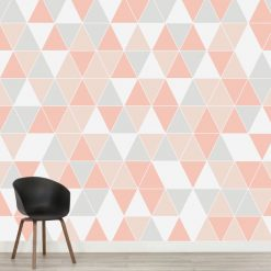 Papel de parede triângulos em vinil autocolante decorativo. Aplique esta imagem em qualquer superfície lisa e sem textura. Além disso, ao contrário do papel de parede tradicional, não precisa aplicar colas.
