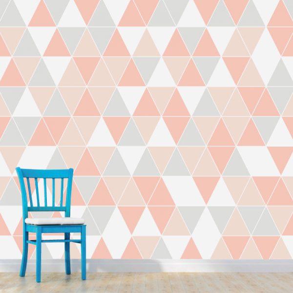 Papel de parede triângulos em vinil autocolante decorativo