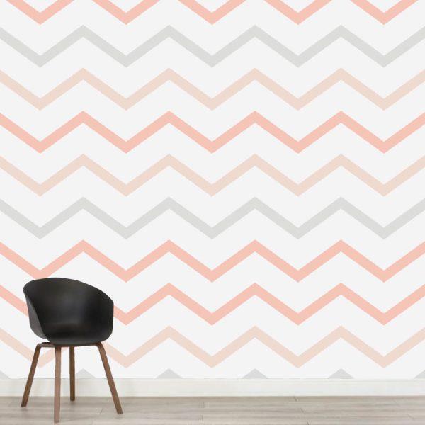 Papel de parede zig-zag em vinil autocolante decorativo. Aplique esta imagem em qualquer superfície lisa e sem textura. Além disso, ao contrário do papel de parede tradicional, não precisa aplicar colas.