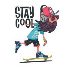 T-shirt Stay Cool. 100% Algodão, moderna e básica de manga curta com visual contemporâneo.