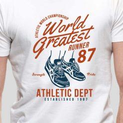 T-shirt de homem e mulher World Greatest Runner Championship Strength And Pride 1987 100% Algodão, moderna e básica de manga curta com visual contemporâneo.