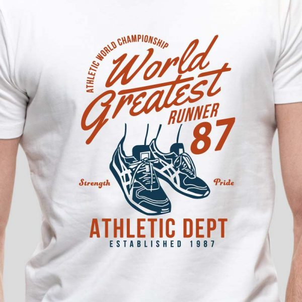T-shirt de homem World Greatest Runner Championship Strength And Pride 1987,