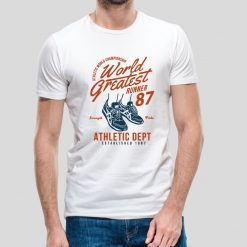 T-shirt de homem World Greatest Runner Championship Strength And Pride 1987 100% Algodão, moderna e básica de manga curta com visual contemporâneo.