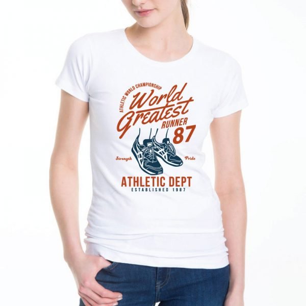 T-shirt de mulher World Greatest Runner Championship Strength And Pride 1987 100% Algodão, moderna e básica de manga curta com visual contemporâneo.