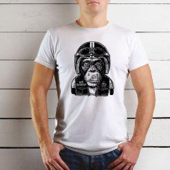 T-shirt de homem Macaco Motard. 100% Algodão, moderna e básica de manga curta com visual contemporâneo.