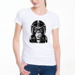 T-shirt Macaco Motard. unissexo 100% Algodão, moderna e básica de manga curta com visual contemporâneo