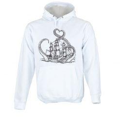 Sweatshirt com capuz A lenda do kraken. Unissexo. 50% Algodão 50% Poliéster, moderna e básica com visual contemporâneo.
