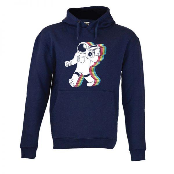 Sweatshirt com capuz Astronauta a ouvir musica. Unissexo. 50% Algodão 50% Poliéster, moderna e básica com visual contemporâneo.