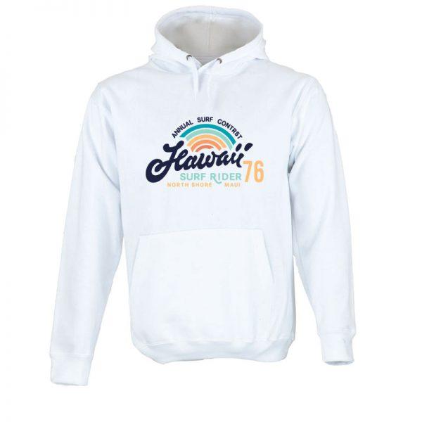 Sweatshirt com capuz Hawaii Surf Rider. Unissexo. 50% Algodão 50% Poliéster, moderna e básica com visual contemporâneo.