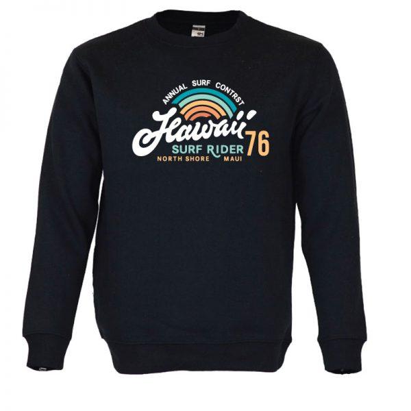 Sweatshirt Hawaii Surf Rider vintage unissexo. 50% Algodão 50% Poliéster, moderna e básica com visual contemporâneo.