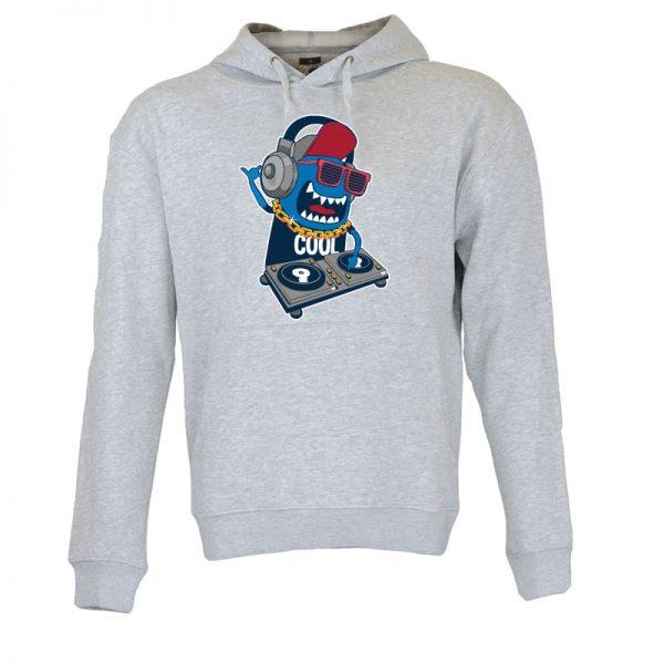 Sweatshirt com capuz Monster DJ party. Unissexo. 50% Algodão 50% Poliéster, moderna e básica com visual contemporâneo.