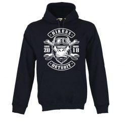 Sweatshirt com capuz Gorilla Biker. Unissexo. 50% Algodão 50% Poliéster, moderna e básica com visual contemporâneo.