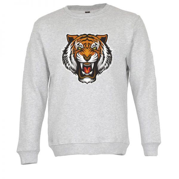Sweatshirt Cabeça de tigre. Unissexo. 50% Algodão 50% Poliéster, moderna e básica com visual contemporâneo. Portes grátis para Portugal e ilhas.