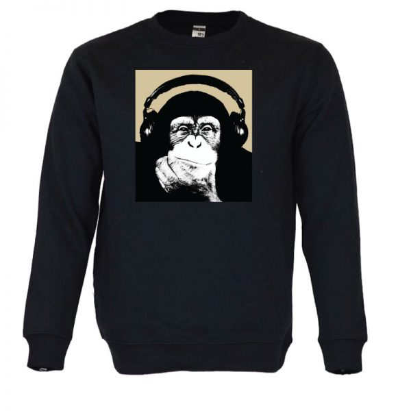 Sweatshirt Macaco de fones. Unissexo. 50% Algodão 50% Poliéster, moderna e básica com visual contemporâneo. Portes grátis para Portugal e ilhas.