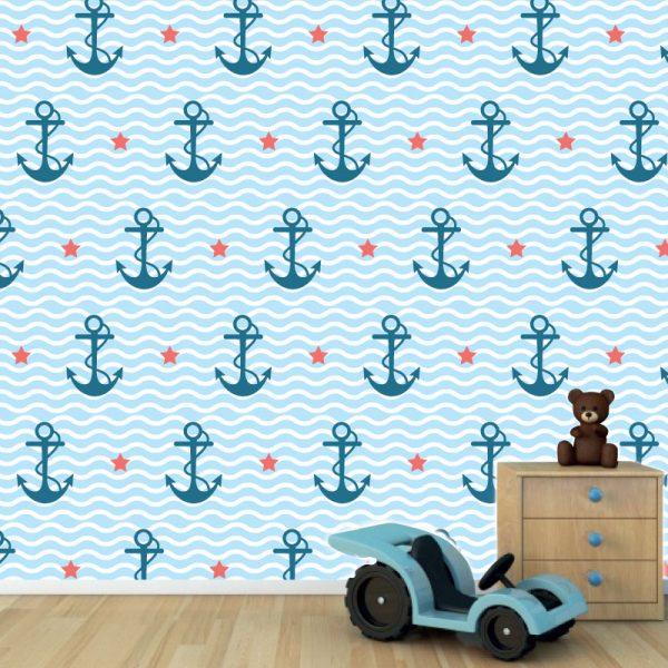 Papel de parede padrão Âncuras com estrelas infantil em vinil autocolante decorativo. Aplique esta imagem em qualquer superfície lisa e sem textura. Além disso, ao contrário do papel de parede tradicional, não precisa aplicar colas.