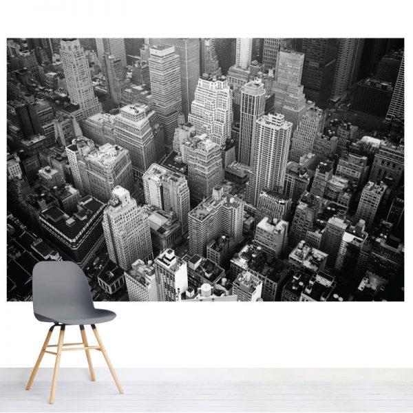 Arranha céus preto e branco mural de parede em vinil autocolante decorativo. Aplique esta imagem em qualquer superfície lisa e sem textura. Além disso, ao contrário do papel de parede tradicional, não precisa aplicar colas.