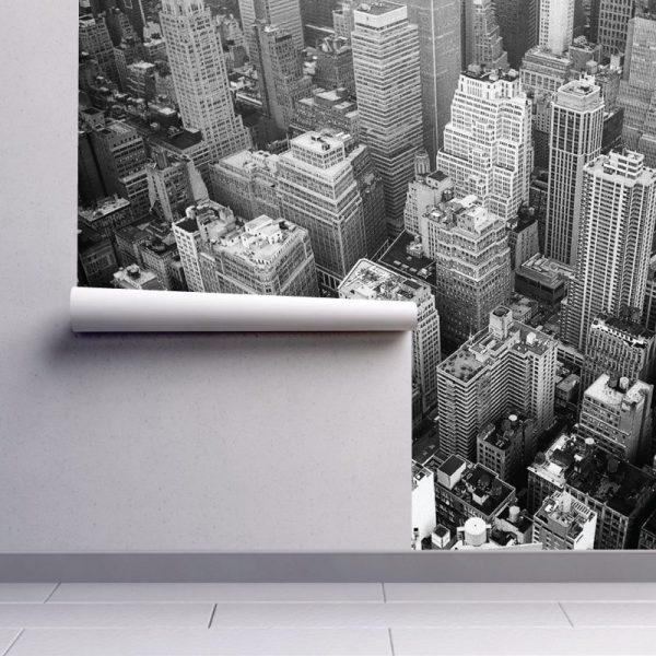 Arranha céus preto e branco mural de parede em vinil autocolante decorativo