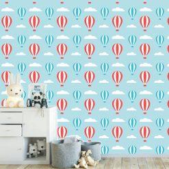 Papel de parede com Balões e nuvens infantil em vinil autocolante decorativo
