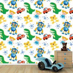 Papel de parede padrão Brinquedos infantil em vinil autocolante decorativo