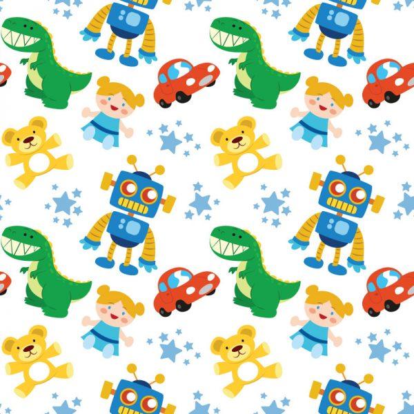 Papel de parede padrão Brinquedos infantil em vinil autocolante decorativo. Aplique esta imagem em qualquer superfície lisa e sem textura. Além disso, ao contrário do papel de parede tradicional, não precisa aplicar colas.