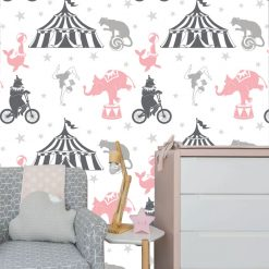 Papel de parede Circo infantil em vinil autocolante decorativo