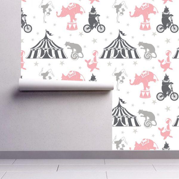 Papel de parede Circo infantil em vinil autocolante decorativo. Aplique esta imagem em qualquer superfície lisa e sem textura. Além disso, ao contrário do papel de parede tradicional, não precisa aplicar colas.