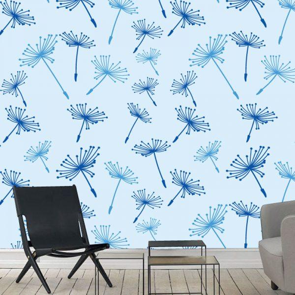 Papel de parede Dente de leão em vinil autocolante decorativo. Aplique esta imagem em qualquer superfície lisa e sem textura. Além disso, ao contrário do papel de parede tradicional, não precisa aplicar colas.