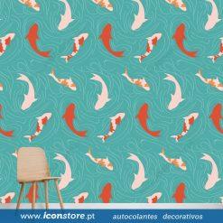 Papel de parede padrão Espiral peixe carpa em vinil autocolante decorativo