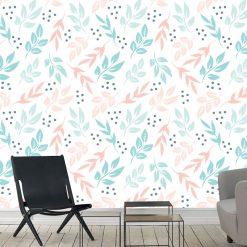 Papel de parede Floral Amber pastel em vinil autocolante decorativo. Aplique esta imagem em qualquer superfície lisa e sem textura. Além disso, ao contrário do papel de parede tradicional, não precisa aplicar colas.
