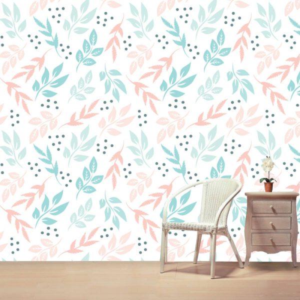 Papel de parede Floral Amber pastel em vinil autocolante decorativo