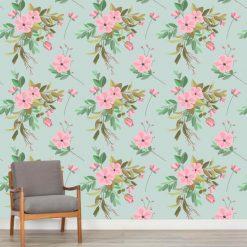 Papel de parede padrão Floral festa verde em vinil autocolante decorativo