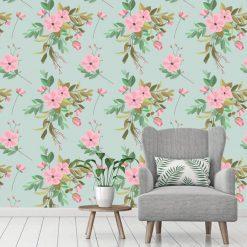 Papel de parede padrão Floral festa verde em vinil autocolante decorativo. Aplique esta imagem em qualquer superfície lisa e sem textura. Além disso, ao contrário do papel de parede tradicional, não precisa aplicar colas.