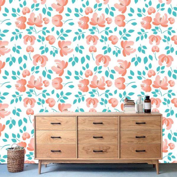 Papel de parede Floral Utopia em vinil autocolante decorativo. Aplique esta imagem em qualquer superfície lisa e sem textura. Além disso, ao contrário do papel de parede tradicional, não precisa aplicar colas.