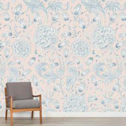 Papel de parede padrão Floral Vitoria em vinil autocolante decorativo. Aplique esta imagem em qualquer superfície lisa e sem textura. Além disso, ao contrário do papel de parede tradicional, não precisa aplicar colas.