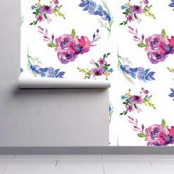 Papel de parede Floral Aguarela Toscana em vinil autocolante decorativo. Aplique esta imagem em qualquer superfície lisa e sem textura. Além disso, ao contrário do papel de parede tradicional, não precisa aplicar colas.