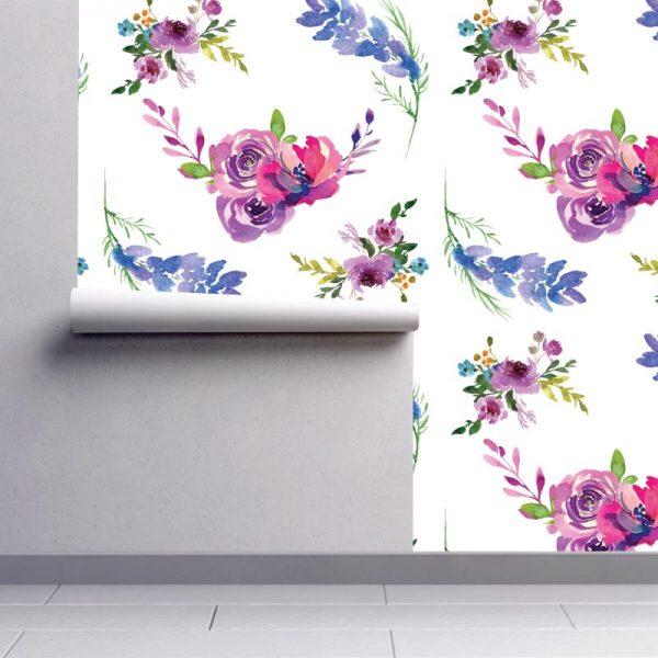 Papel de parede Floral Aguarela Toscana em vinil autocolante decorativo