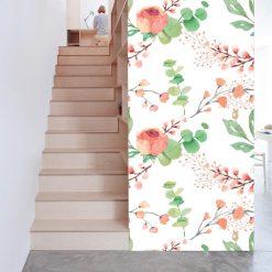 Papel de parede padrão Floral Primavera em vinil autocolante decorativo