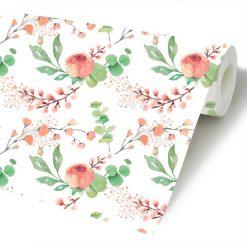 Papel de parede padrão Floral Primavera em vinil autocolante decorativo. Aplique esta imagem em qualquer superfície lisa e sem textura. Além disso, ao contrário do papel de parede tradicional, não precisa aplicar colas.