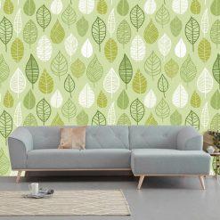 Papel de parede Folhas retro verdes padrão em vinil autocolante decorativo. Aplique esta imagem em qualquer superfície lisa e sem textura. Além disso, ao contrário do papel de parede tradicional, não precisa aplicar colas.
