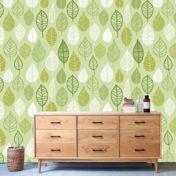 Papel de parede Folhas retro verdes padrão em vinil autocolante decorativo