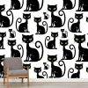 Papel de parede padrão Gatos pretos em vinil autocolante decorativo. Aplique esta imagem em qualquer superfície lisa e sem textura. Além disso, ao contrário do papel de parede tradicional, não precisa aplicar colas.