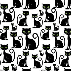 Papel de parede padrão Gatos pretos em vinil autocolante decorativo