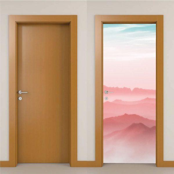 Montanhas em tons Rosa, autocolante decorativo para portas e paredes. Aplique esta imagem em qualquer superfície lisa e sem textura (paredes, vidros, portas, mobiliário…).