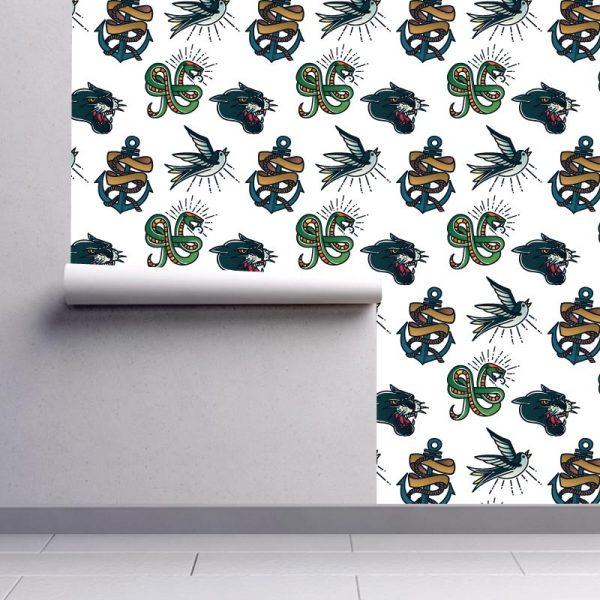 Papel de parede Old school animals tattoo em vinil autocolante decorativo. Aplique esta imagem em qualquer superfície lisa e sem textura. Além disso, ao contrário do papel de parede tradicional, não precisa aplicar colas.