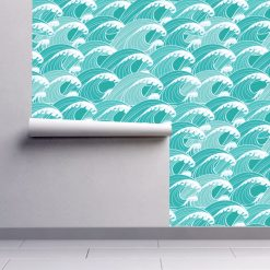 Papel de parede padrão Ondas em vinil autocolante decorativo