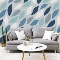 Papel de parede Nature escandinavo foliage em vinil autocolante decorativo. Aplique esta imagem em qualquer superfície lisa e sem textura. Além disso, ao contrário do papel de parede tradicional, não precisa aplicar colas.