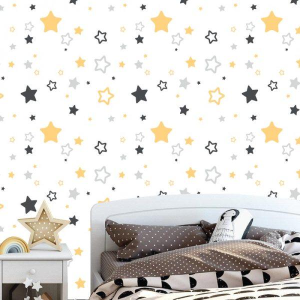 Papel de parede com Estrelas amarelas e cinza infantil em vinil autocolante decorativo