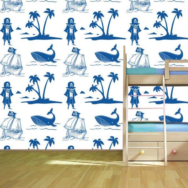 Papel de parede Ilha dos Piratas Infantil em vinil autocolante decorativo. Aplique esta imagem em qualquer superfície lisa e sem textura. Além disso, ao contrário do papel de parede tradicional, não precisa aplicar colas.