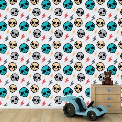 Papel de parede com Padrão caveiras infantil em vinil autocolante decorativo. Aplique esta imagem em qualquer superfície lisa e sem textura. Além disso, ao contrário do papel de parede tradicional, não precisa aplicar colas.